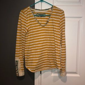 Anthropologie little yellow button blouse